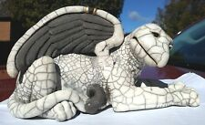 Vintage Griffin figural statue Magical Creature white and grey glazed  8.4 long