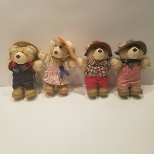 "(4) Vintage 1986 Wendys Furskins 7"" Bear Lot Dudley Farrell Boone Hattie Furskin"