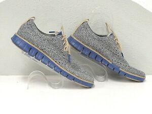 Cole Haan Men's Grand 0S Blue Khaki Stitchlite Knit Sneakers size 7