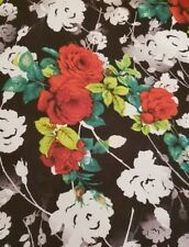 Black and White Floral-Print Chiffon with Lavish Red Roses