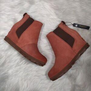 Sorel Joan Of Arctic Wedge II Leather Waterproof Boots 7.5 Bootie Teak Brown