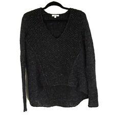 Helmut Lang Womens Sweater Size S High Low V Neck Black Gray Knit Wool Blend