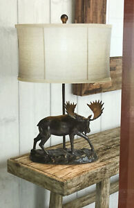 MOOSE LAMP NEW RUSTIC CABIN LIGHTING TABLE LIGHT COUNTRY LODGE BRONZE FINISH