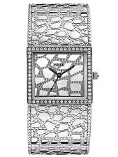 NEW GUESS SILVER TONE STAINLESS STEEL CROC LOOKS CRYSTAL BRACELET WATCH-W0223L1