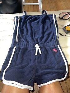Abercrombie Kids terry cotton Romper Size 13-14 Girls navy blue