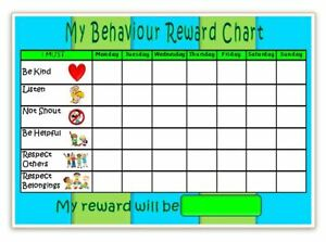 BEHAVIOUR REWARD CHART- MAGNETIC- 3 colours or u choose - FREE PEN / STICKERS