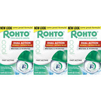 3 Pack Rohto Lubricant Eye Drops Redness Relief Cooling 0.4Oz Each