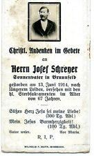 Sterbebild Josef Schrener 1847-1914 Sonnenvater Brunnfeld Miesbach