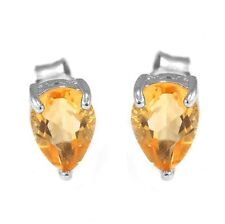 1.2ct Genuine Citrine 7mm Pear Solid Sterling Silver Stud Fashion Earrings Hot