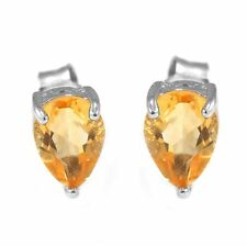 7mm Genuine Citrine Girls Pear Solid Sterling Silver Stud Fashion Earrings Hot