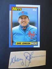 Dave Johnson, Autograph on a piece of an index card, with Baseball card, Manager