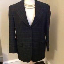 Aquascutum for London Plaid wool tailored jacket