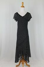 Adrianna Papell Black & White Polka Dot 100% Silk 1920's Flapper Style Dress 8