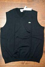 Lacoste Men's V Neck Noir Black Cotton Sweater Vest Big & Tall XL EU 8R