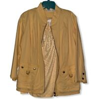 Chicos Womens Jacket & Tank Top Mustard Zip Stretch Bling Flap Pockets Large New