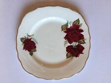 Royal Vale Bone China 15cm Tea Plate with Red Rose Design