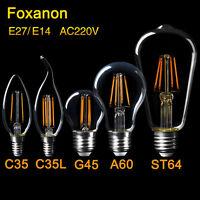 E27 E14 LED Bulb 2/4/6/8W ST64 Edison Retro Lamp Filament Candle COB light 220V