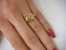14K YELLOW GOLD FRIENDSHIP LADIES HEART SHAPED RING WITH SMALL DIAMONDS