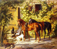 Perfect Oil painting Albrecht Adam - Horses at the Porch with dogs in landscape