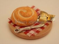 Dolls house food: Continental  bread and butter board  -By Fran