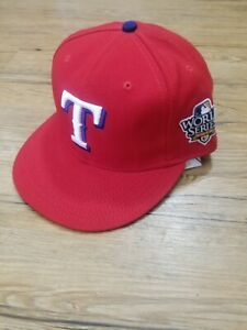 Texas Rangers 2010 World Series New Era 59Fifty Fitted Hat USA On Field 7 5/8