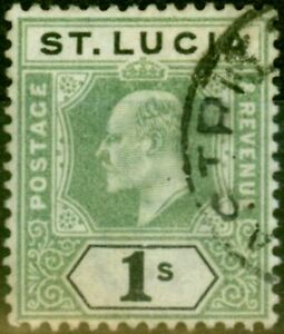 St Lucia 1902 1s Green & Black SG62 Good Used