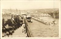Seattle WA Ships Government Locks Real Photo Postcard