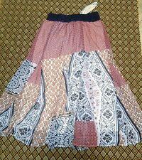 J GEE LINED Peasant Elastic Waistband Long Skirt Sz M Medium NWT Coral #10606