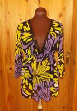 JANE NORMAN green black purple floral chiffon 3/4 sleeve tunic top kaftan 14 40