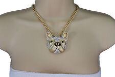 New Women Gold Necklace Metal Chain Dog Pug Face Bulldog Pendant Fashion Jewelry