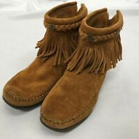 Minnetonka Moccasin Ankle Boots 292 Womens Size 7 Brown Suede Leather Fringe