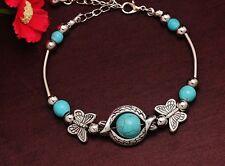 Boho Estilo Vintage Mariposa Plata Tibetana Y azul Piedra Cuenta Dije Pulsera Regalo