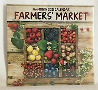 2021 FARMERS MARKET Fruits Veggies Flowers Vegetarian Wall Calendar 16 Months