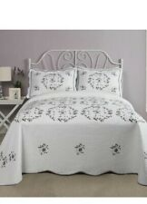 New PHI Modern Heirloom Gwen Floral Embroidered King Bedspread