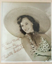 Paulette Goddard Signed Photo to Chaw Mank / PROFESSIONALLY FRAMED Autographed