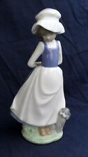 NAO by LLADRO DAISA 1983 GIRL FIGURINE WITH POODLE HANDS BEHIND BACK