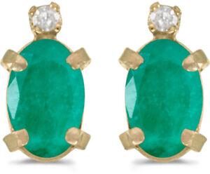 14k Yellow Gold Oval Emerald And Diamond Earrings (CM-E2209X-05)