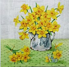 DAFFODILS IN A PITCHER 2 single LUNCH SIZE paper napkins for decoupage 3-ply