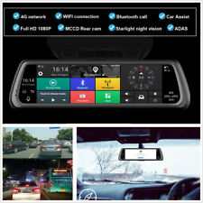 "10"" Touch IPS Special 4G Car Dash DVR Dual Camera Mirror GPS Bluetooth WIFI ADAS"