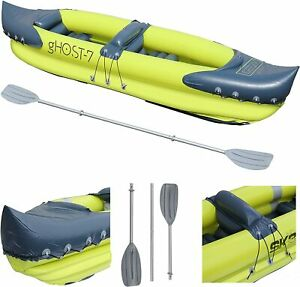 gHOST-7, 2 Man Person Inflatable Canoe Kayak Dinghy Boat Double Paddle_USED_HOLE