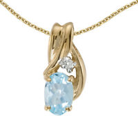 14k Yellow Gold Oval Aquamarine and Diamond Pendant (no chain) (CM-P1861X-03)