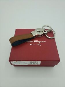 New Salvatore Ferragamo Mini Gancini Embossed Leather Valet Key Chain Brown $230