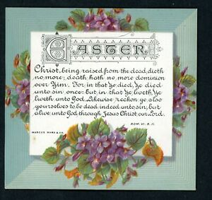 VICTORIAN GREETINGS  CARD EASTER RELIGIOUS SCRIPTURE MOTTO CARD