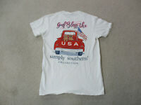 Simply Southern Shirt Womens Small White Red USA Puppy God Bless USA Ladies *