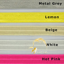 15 Yard 15mm Solid FOE Fold Over Elastics Spandex Baby HeadBand Lace Sewing Trim