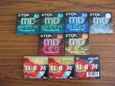 9 Blank MiniDiscs - NEW and SEALED ( 6 TDK 80 + 3 Maxell 74) Mini disc