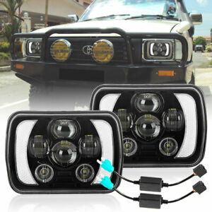7x6'' 5x7'' inch LED Headlights HI/LO/DRL + Adapters for 1983-2004 Toyota Hilux