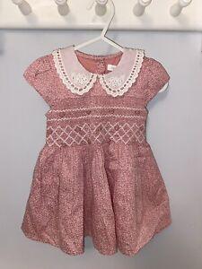Next Pink Smocked Tea Dress Baby Girl 6-9 Months Vintage