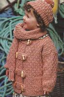 "Girls Knitting Pattern Jacket Hat Scarf Chunky 20-30"" 499"