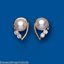 Cultured Pearl earrings Freshwater pearl Studs yellow gold Pearl earrings